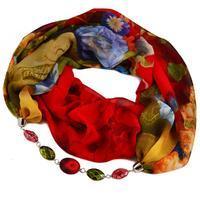 Šála s bižuterií Extravagant 396ext004-20.52 - červenozelená s květy