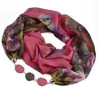 Šála s bižuterií Extravagant 396ext004-27.52 - růžovozelená s květy