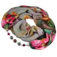 Šála s bižuterií Extravagant 396ext004-71.02 - šedá s květy