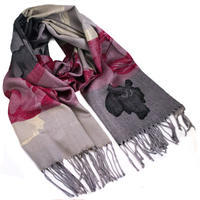 Classic warm scarf - grey and dark red