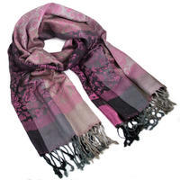 Classic warm scarf - grey and pink