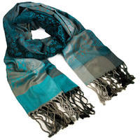 Classic warm scarf - grey and turquoise
