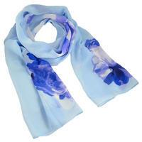 Šála vzdušná - modrá s květy