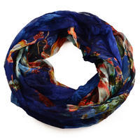 Summer infinity scarf 69tl004-23.30b - pink with blue flowers