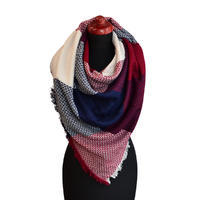 Blanket square scarf - blue and red