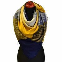 Blanket square scarf - blue and yellow