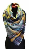 Blanket square scarf - yellow and grey