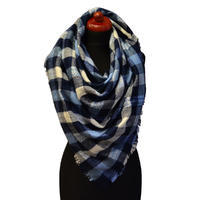 Blanket square scarf - blue and white
