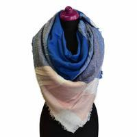 Blanket square scarf - blue and peach