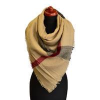 Blanket square scarf - light brown