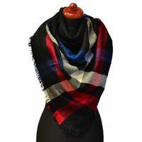 Blanket square scarf - black and red