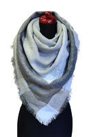 Blanket square scarf - grey and white