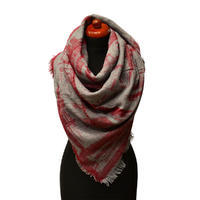 Blanket square scarf - grey and red