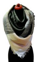 Blanket square scarf - grey and peach