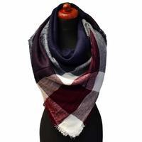 Blanket square scarf - dark blue and wine red
