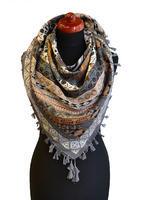 Velký šátek 69pl006-71.14 - šedý s geometrickým vzorem