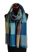 Velký šátek 69pl013-32 - tyrkysová kostkovaná