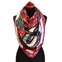 Maxi šátek - červenomodrý se vzorem