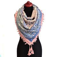 Maxi šátek - růžovomodrý se vzorem
