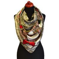 Maxi šátek - zelenočervený se vzorem