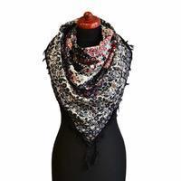 Maxi šátek - černobílý se vzorem