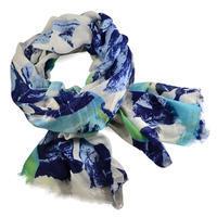 Šála klasická 69cu004-30.01 - modrobílá s květinovým potiskem