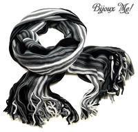 Šála panská pletená 69cp003-71.01 - černobílá pruhovaná