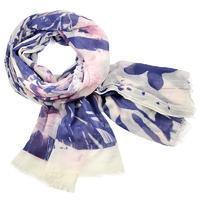 Šála Classic 69cu004-01.33 - bílo fialová s velkými květy