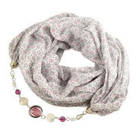 Cotton scarf - red&beige