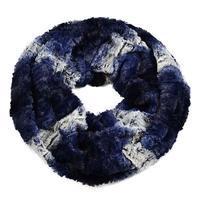 Tunelová kožešinová šála 69tz002-30.01 - modrobílé ombre