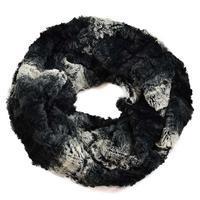 Tunelová kožešinová šála 69tz002-70.01a - černobílé ombre