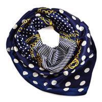 Šátek saténový - tmavě modrý s puntíky a řetízky