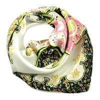 Šátek saténový 63sk004-01.50 - zelený s květinovým vzorem