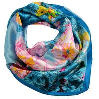 Šátek saténový 63sk004-32.23 - tyrkysový s akvarelovými květinami