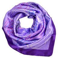 Šátek saténový 63sk004-33 - fialový s květinami