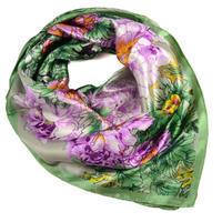 Šátek saténový 63sk004-51.23 - zelený s akvarelovými květinami