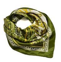Šátek saténový 63sk010-53.01 - myslivecká zelená, paisley