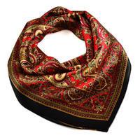 Šátek saténový 63sk010-70.20 - černočervený paisley