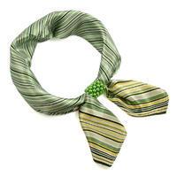 Šátek s bižuterií Letuška Light - zelený pruhovaný