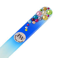 Skleněný pilník s kamínky Swarovski SPFW135-30.02a - modrý