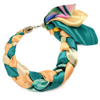 Jewelry scarf Florina - green and beige