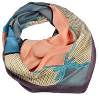 Square scarf - blue anf peach