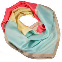 Square scarf - light blue and coral