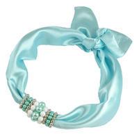 Šátek s bižuterií Letuška - bledě modrý
