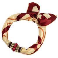 Šátek s bižuterií Letuška - hnědobéžový