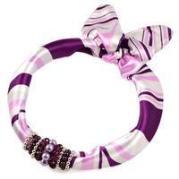 Šátek s bižuterií Letuška - bílofialový