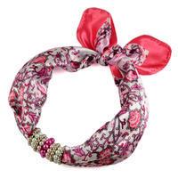 Šátek s bižuterií Letuška 299let004-01.23 - bílorůžový