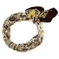 Šátek s bižuterií Letuška 299let004-40.01 - hnědobílý s květinovým potiskem