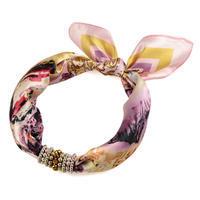 Šátek s bižuterií Letuška 299let009-23.02 - růžový s potiskem
