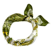 Jewelry scarf Stewardess - olive green and white